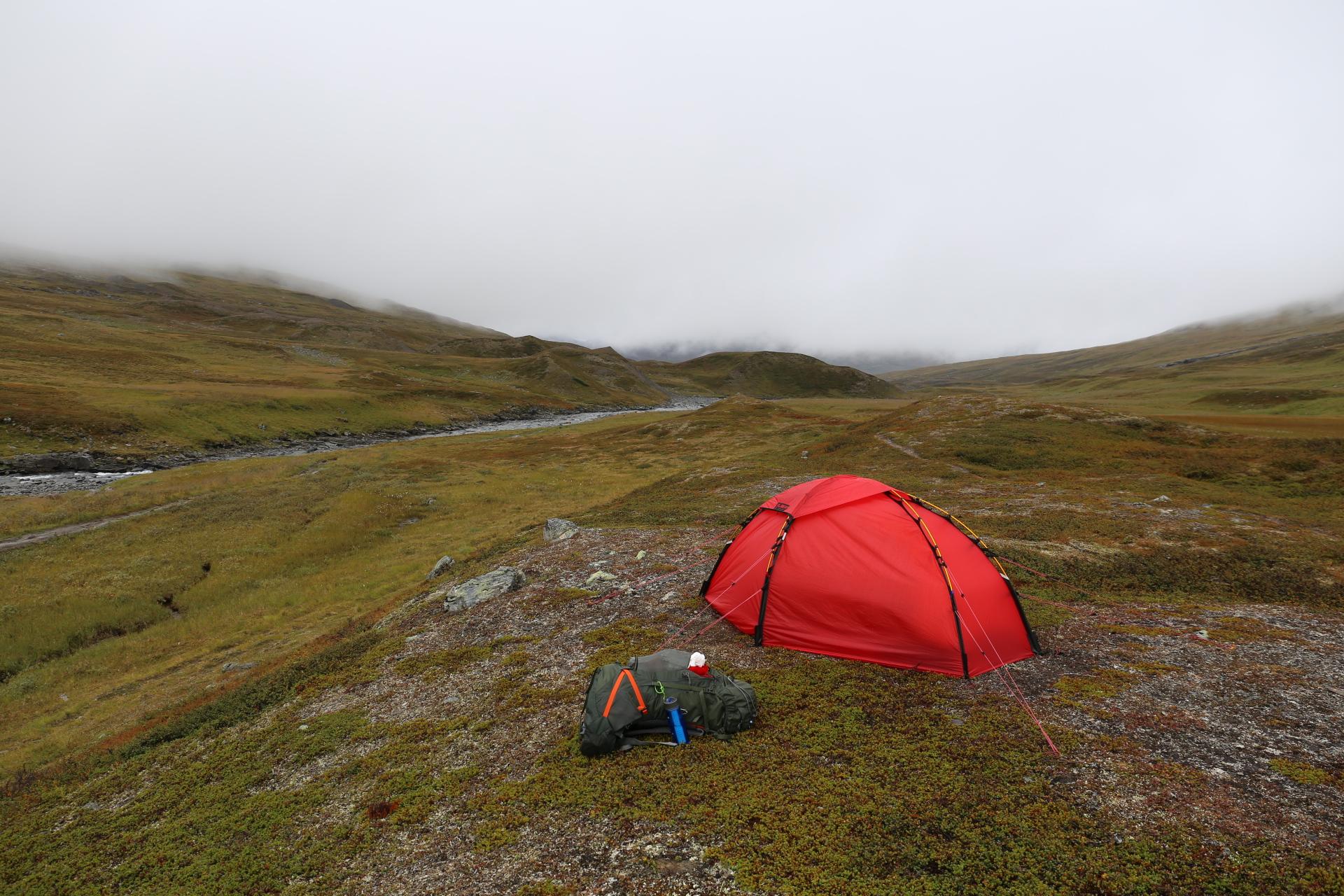 Tältplatsen vid Salvasskardfjellet